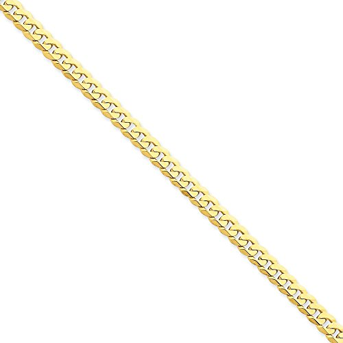 14k Yellow Gold 5.75mm Beveled Curb Chain 9'' Men's Bracelet by Jewelplus
