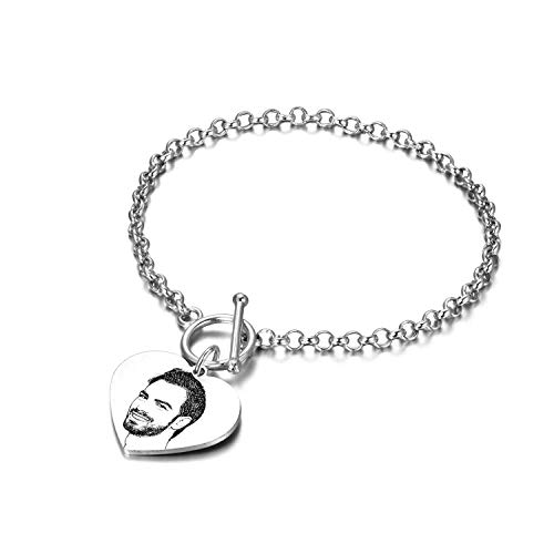 LONAGO Personalized Photo Bracelet Engraved Name Picture Disc Heart Charm Pendant Custom Made Sterling Silver Bangle 6