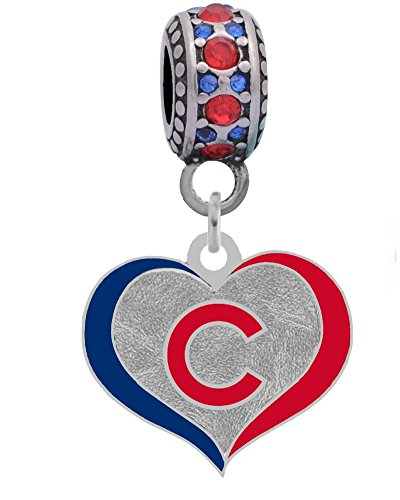 Chicago Cubs Swirl Heart Charm Fits Most Bracelet Lines Including Pandora, Chamilia, Troll, Biagi, Zable, Kera, Personality, Reflections, Silverado and More ...