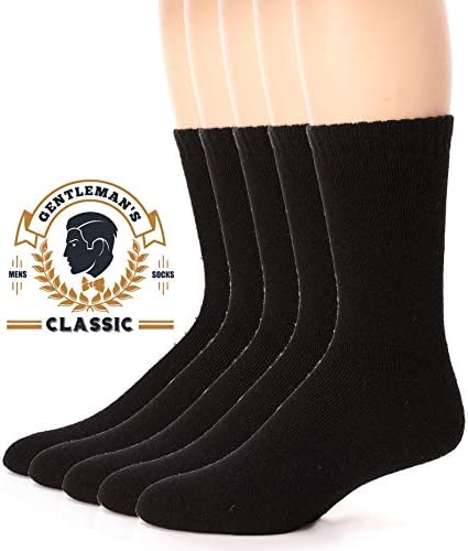 Mens Wool Socks Warm Thermal Thick Heavy Cold Weather Winter Socks 5 Pack