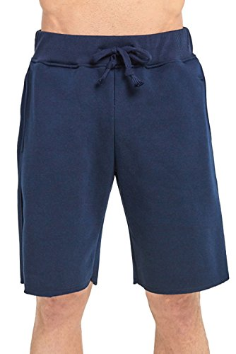ToBeInStyle Men's Drawstring Solid Print Fleece Shorts - Navy - Large by ToBeInStyle