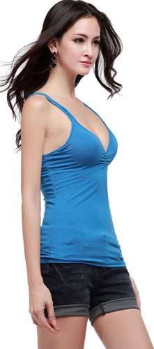 mujer para de Camiseta mangas sin azul Anuncios tirantes f10HWZwq1S