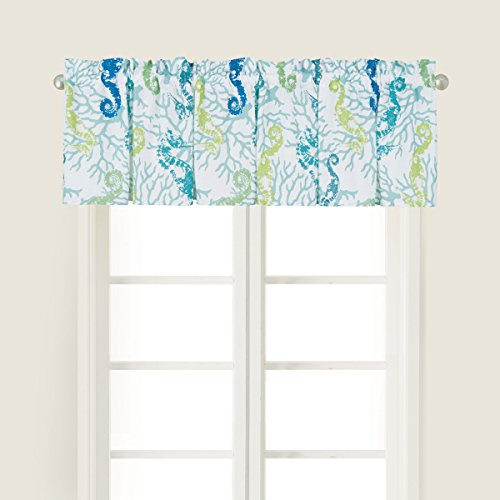 (C&F Home Aquarius Green Blue Seahorse Coral Sea Life Coastal Tropical Beach Vacation Home Cotton Premium Window Valance Valance Green)