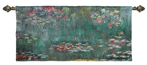 Water Lilies Wall Hanging, Wall Art, Artwork, Throw Rug, 58 x 27 inches, Floral Animal Fabrics Interior Design (WH-cm-WL) ()