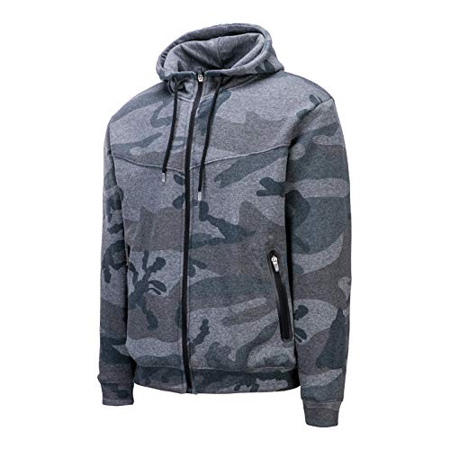 Asysst Mens Boys Full Zipper Outdoors Casual Winter Camo Wool Outfitter Hoodies Sweatshirts with Pockets Fleece Grey Camo Small