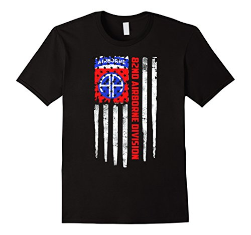 Mens 82nd Airborne Division American Flag Tshirt 3XL ()