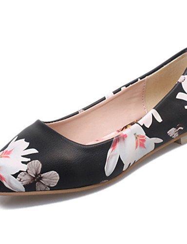 plano uk4 cn36 zapatos de Casual black negro eu36 us6 señaló blanco Toe talón mujeres PDX las Flats xX4dZann