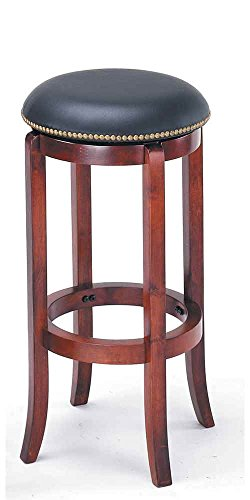ADF 29-Inch Swivel Bar Stool with Nailhead Trim, Cherry