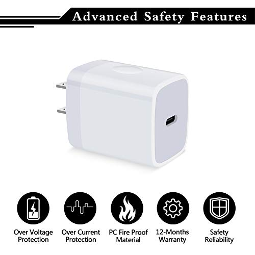USB C Wall Charger, 2Pack 20W USB C Charger PD Fast Charger Type C Phone Power Delivery Wall Adapter Compatible with iPhone 13/SE/12/11 Pro Max,Samsung Galaxy Note 20 Ultra/10 S20, Pixel 4XL/3XL/2XL