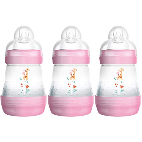 Baby Bottle with Extra Slow Flow Silicone Teat Newborn Baby Feeding Essentials MAM Easy Start Self Sterilising Anti-Colic Bottle 130ml Designs May Vary Green