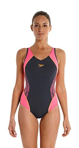 Speedo Women's Splice músculo trasero traje de ajuste Gris - Oxide Grey/Fluorescent Pink/Fluorescent Orange