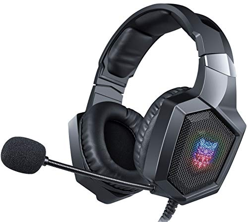 Swenter Gaming Headset for PS4,Xbox One,PC,Mac,Gaming Headphone On Ear with Mic (Black)