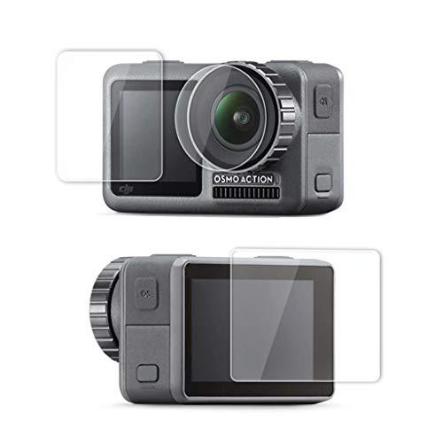 Hot Sale!UMFun 2Set Tempered Pet Film Dual Screen + Lens Protector For DJI OSMO Action Camera]()