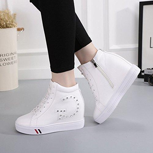 Wig Hoge Sportschoenen Voor Dames Verborgen Hak Cz Rits Fashion Running Hiking Sneaker Wit