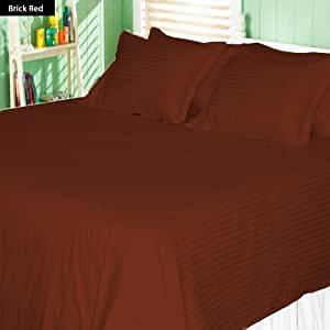 Stripe Pattern 6 Piece Sheet Set 100% Egyptian Cotton 450 TC 17 Inch Deep Pocket ( Twin , Brick Red )