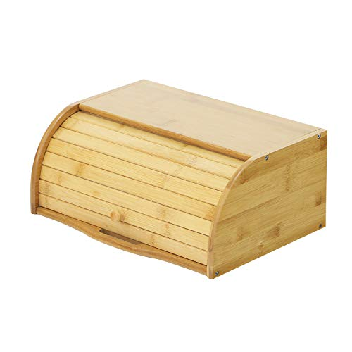 Betwoo Natural Wooden Roll Top Bread Box Bamboo Kitchen Food Storage (Standard Size Self-assembly) ()