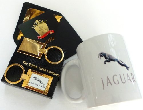 The British Gold Company 24K Gold Finished Luxury Jaguar Key Ring And Collectors Mug Car Set Jag Designer Case by The British Gold Company