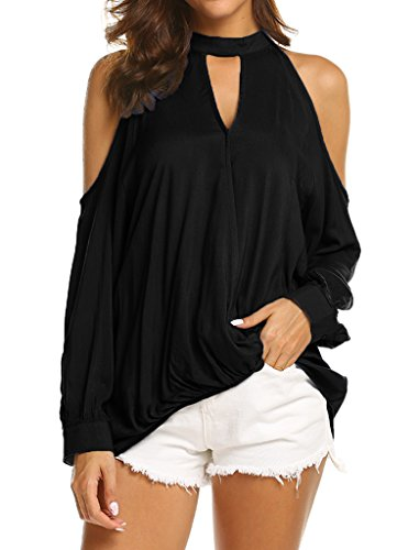 Wrap Front Deep V Neck Long Sleeve Tops Blouse L Black (Long Sleeve T-shirt Wrap)