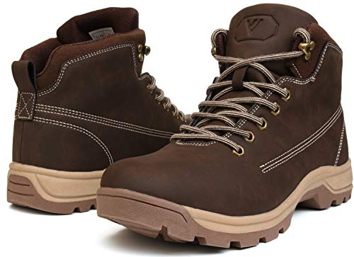 WHITIN Men's Mid Soft Toe Leather Insulated Work Boots Construction Rubber Sole Roofing Waterproof for Outdoor Hiking Winter Snow Extra Wide Width Non Slip Slip Resistant Nonslip Brown Size 9.5