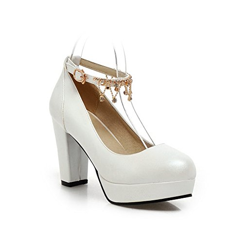 Blanco metal pumps Nupcial 1to9 niñas hule Cadena hebilla shoes nbsp;las f46BwS