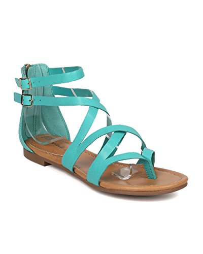 Breckelles Women Criss Cross Gladiator Sandal - Casual, Costume, Girls Night - Strappy Flat Sandal - GG54 by Aqua