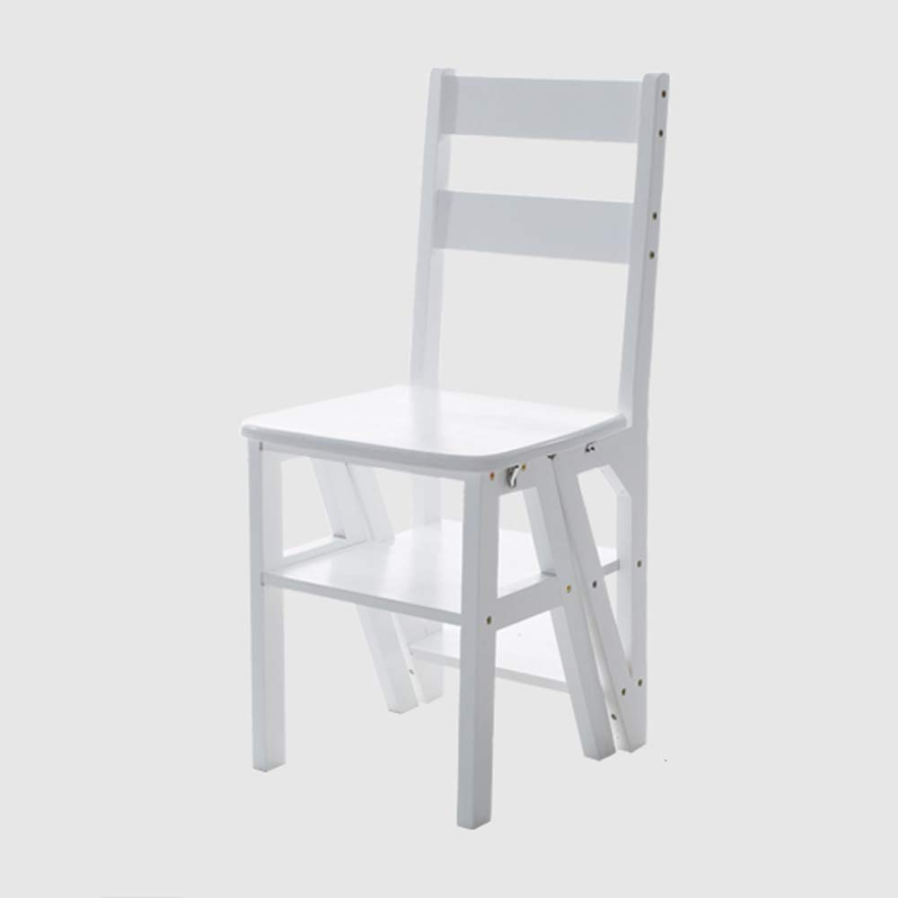 Ladder Folding Multifunction Home Wood Solid WCS White Chair
