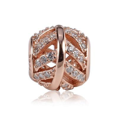 - Calvas New 925 Sterling Silver Bead Openwork Mosaic Crystal Leaf Vein Beads Fit for Original Women Bracelet DIY Jewelry - (Color: Rose Gold)