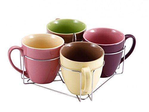 5-tlg. Tassen-Set mit Ständer 580 ml - Keramik Tassen - Teetassen - Kaffeetassen - Geschirr - Tasse - Jumbotasse - Becher-Set - Tassenset