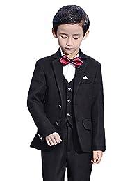 SK Studio Boys' 5 Piece Solid Color Thick Jacket Wedding Suits