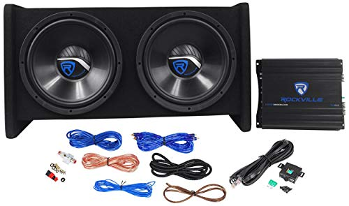 """Rockville RV12.2B 1200W Dual 12"""" Car Subwoofer Enclosure+Mono Amplifier+Amp Kit"""