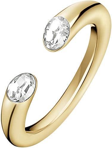 Calvin Klein Anillo con cristales Swarovski, acero inoxidable, pulido, talla 8