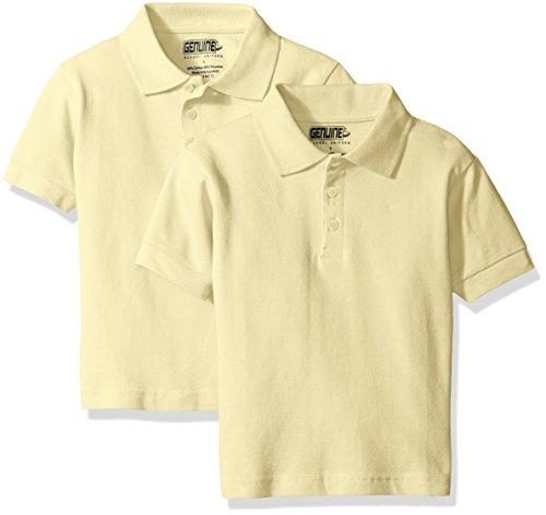 Genuine Big Boys' Short Sleeve 2-Pk Pique Polo, Yellow, 14 - Genuine Boys Shorts