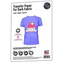 NuFun Activities Inkjet Printable Iron-On Heat Transfer for Dark Fabrics, 8.5 x 11 inch, (25 Sheets) Make Your own…