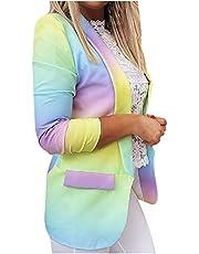 pamkyaemi Zakelijke blazer dames elegant V-hals geen aftrek casual jas revers Tie Dye lange mouwen gebreide jas blazer oversize open front business pak kantoor pak pak jas