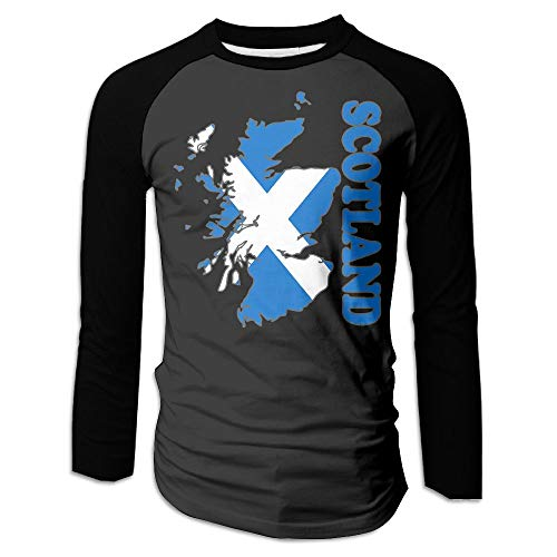 - BFS&33 Scotland Flag Map Mens Baseball O Neck Long Sleeve Tee Shirt Raglan Tops