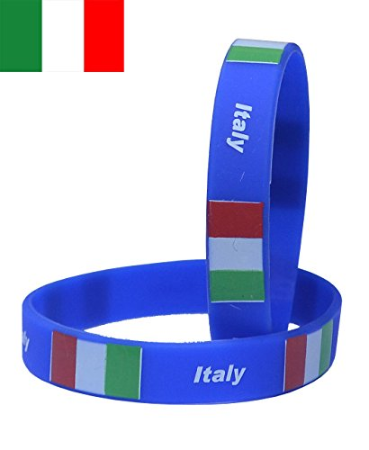 - VEWCK Flag Silicone Bracelet Classic Bangle Letter pattern 40 countries 2-Pack (Italy-Royal blue)