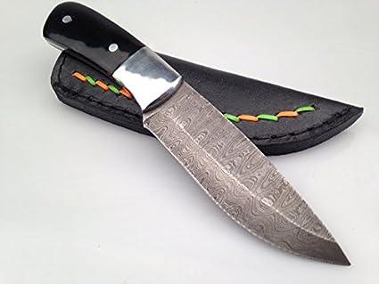 Acero de Damasco cuchillo de mango de cuerno de búfalo ...