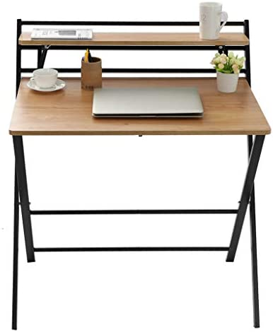 Youmymine Folding Study Computer Desk – Writing Desk Portable Small Lazy Foldable Table Laptop Desk for Small Space,Free Installation Home Office Desk (Khaki) 41AOKnGX lL