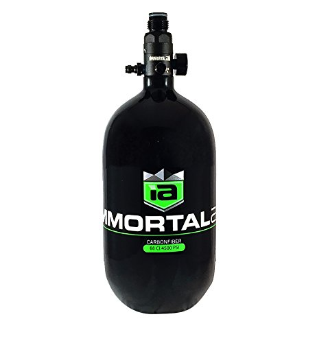 Immortal Air Hydro Lite Carbon Fiber High Pressure Compressed Air HPA Paintball Tanks with Adjustable Output Regulators - 68ci 4500psi, Aura