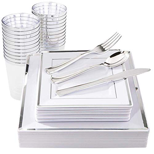 IOOOOO 150 Pieces Silver Square Plates & Disposable Silverware & Plastic Cups, Silver Plastic Dinnerware Include: 25 Dinner Plates, 25 Dessert Plates, 25 Forks, 25 Knives, 25 Spoons, 25 Tumblers -