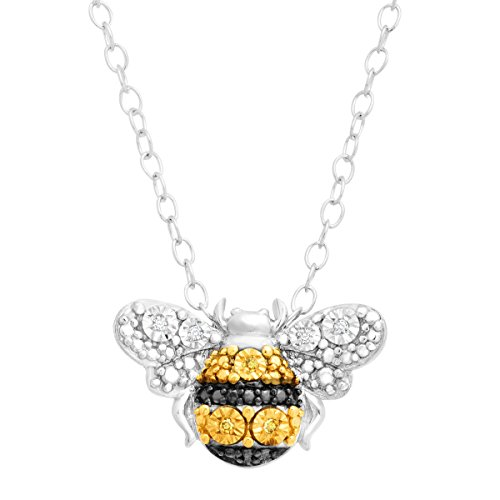 Petite Bumblebee Pendant Necklace with White and Yellow Diamonds in Sterling Silver, 17