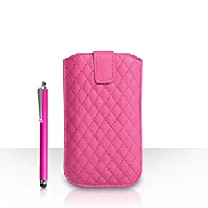 Yousave Accessories HTC One (M9) 2015 Case Hot Pink Diamond PU Leather Auto Return Pull Tab Pouch Cover With Stylus Pen