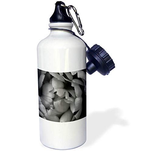 3dRose Stamp City - Flowers - Black and White Macro Photograph of Tulip Petals. - 21 oz Sports Water Bottle (wb_309950_1)