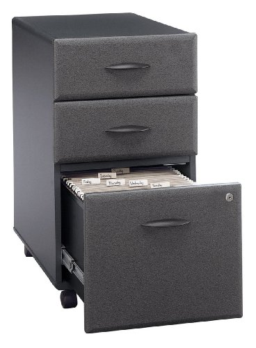 Three Drawer Rolling File Cabinet In Slate   Series A