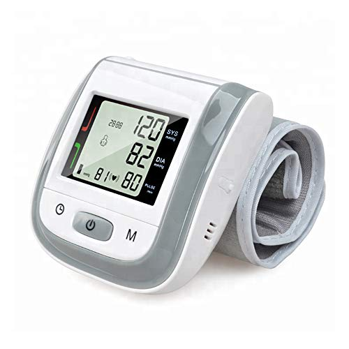 Digital Wrist Blood Pressure Monitor Automatic Heart Rate Detection Heartbeat BP Monitor Large LCD Display for Home Use-Gray