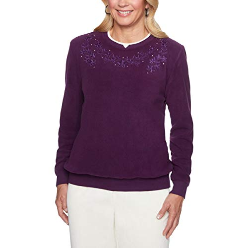 Alfred Dunner Womens Long Sleeves Floral Sweater Purple M