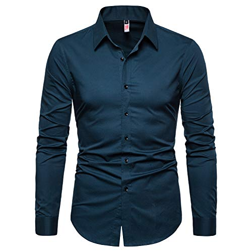 - Manwan walk Men's Slim Fit Business Casual Cotton Long Sleeves Solid Button Down Dress Shirts (XX-Large, Acid Blue)