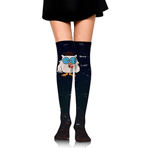 Tootsie Roll Pop Wanna Lick Womens Fashion High Socks Stockings Over The Knee