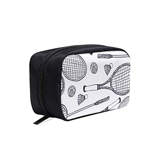 Badminton Racket And Tennis Racket Portable Travel Makeup Cosmetic Bags Organizer Multifunction Case Small Toiletry Bags For Women And Men Brushes Case