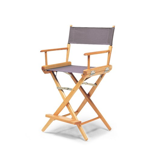 (Telescope Casual World Famous Counter Height Director Chair, Grey with Varnish Frame)